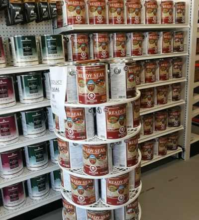 ready seal stains and sealants on display at headwaters home centre
