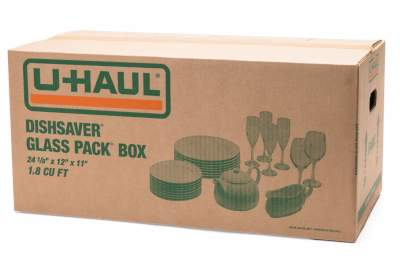 dishsaver glass pack box by u-haul for moving glassware and dishes