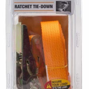 package containing a ratchet tie-down