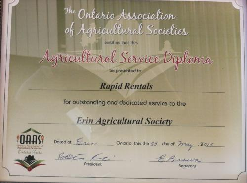erin agricultural association certificate of appreciation 2015