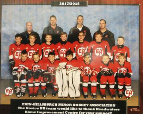 erin hillsburgh minor hockey team sponsorship