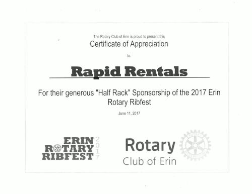 certifcate of appreciation to rapid rentals division of headwaters home improvement centre year 2017