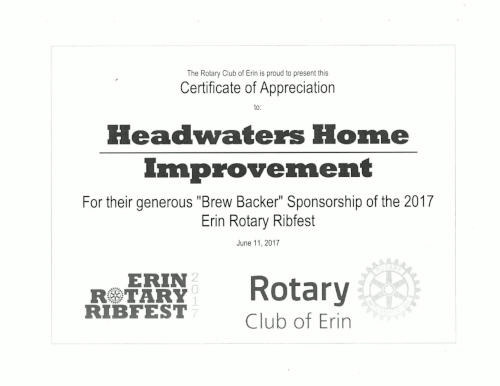 2017 rotary club certification of appreciation