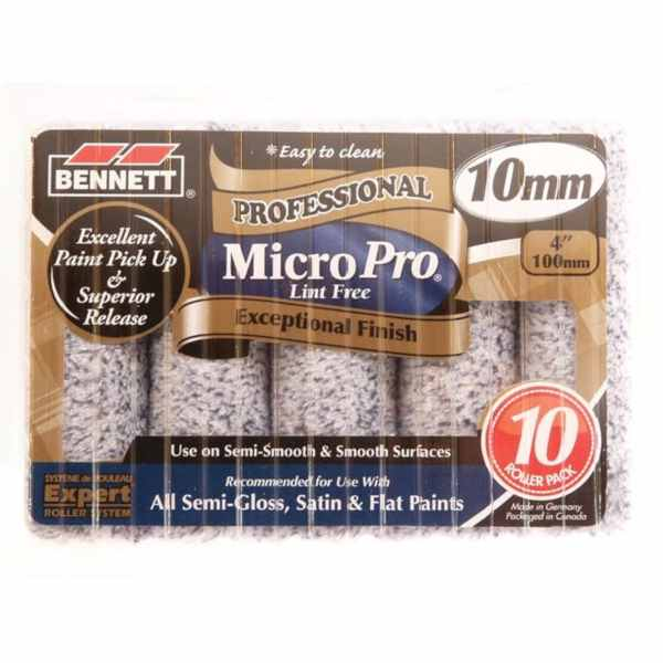 bennett microfibre paint rollers 4 inch pack of 10