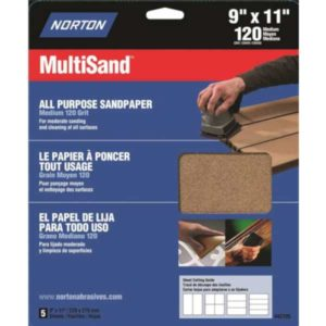 pack of 5 sheets norton 120 grit sandpaper