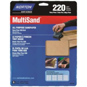 norton 220 grit sandpaper pack of 5 sheets