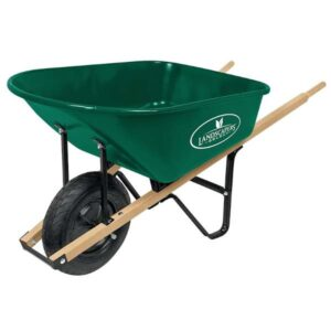 landscapers select green wheelbarrow