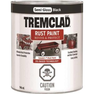 tremclad semi-gloss black quart can