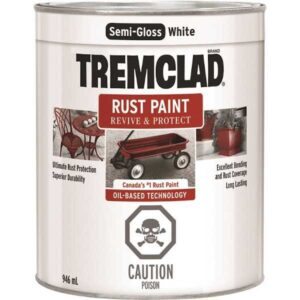 tremclad semi-gloss white quart can