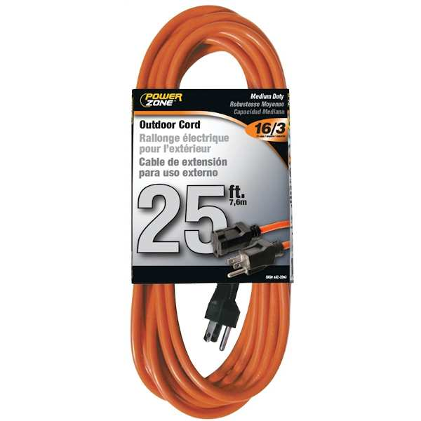 25 foot electric orange extension cord