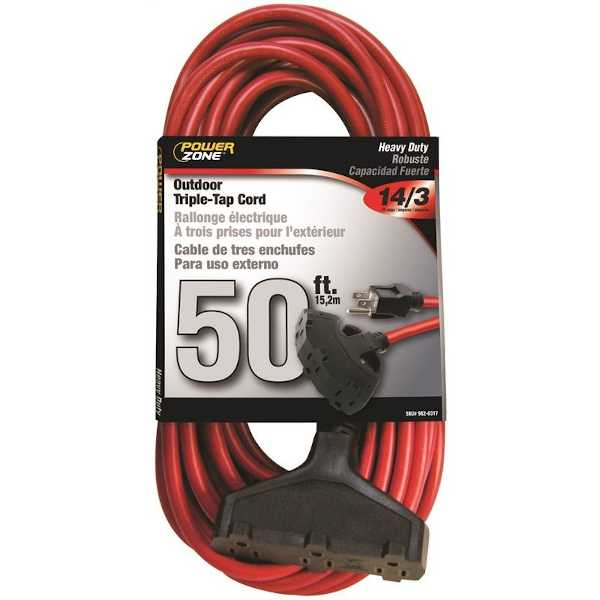 50 foot red outdoor electric extension cord