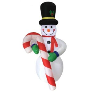 19 foot high inflatable snowman with candy cane