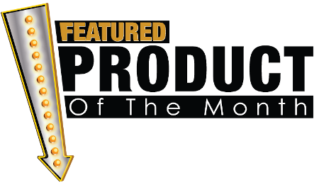 featured product of the month text and arrow